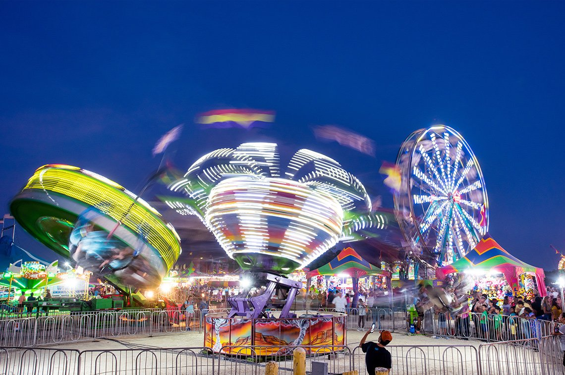 Fair rides at night in Rochester Minnesota