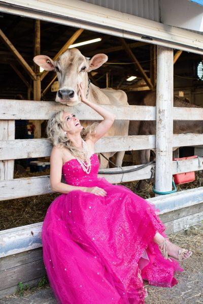 Fashion photo of a model in pink dress with cow at Rochester mn fair
