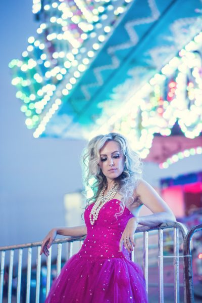 Fashion photo of a model in pink dress at Rochester mn fair