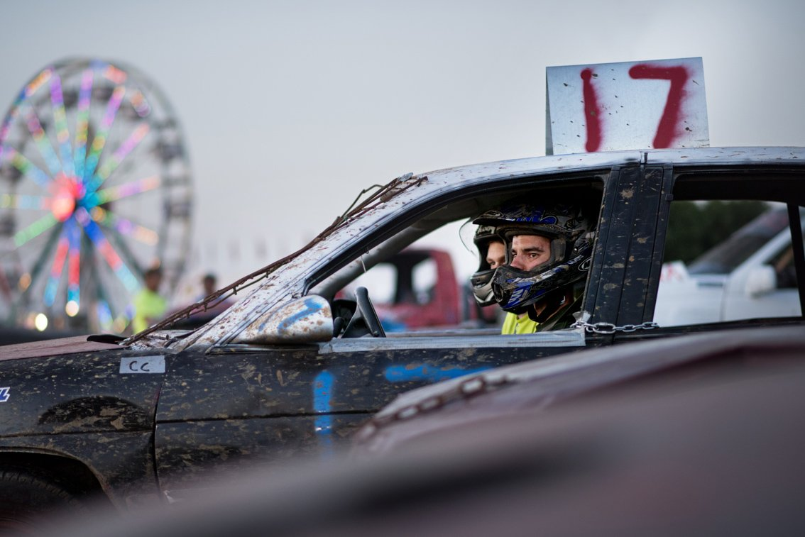 Editorial photo of demolition derby drivers at Rochester mn fair