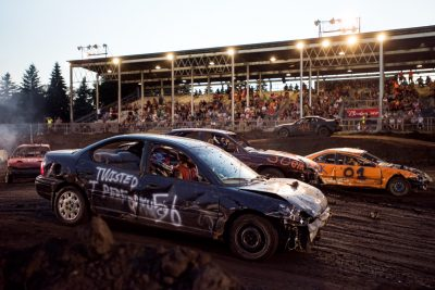 Editorial photo of demolition derby at Rochester mn fair