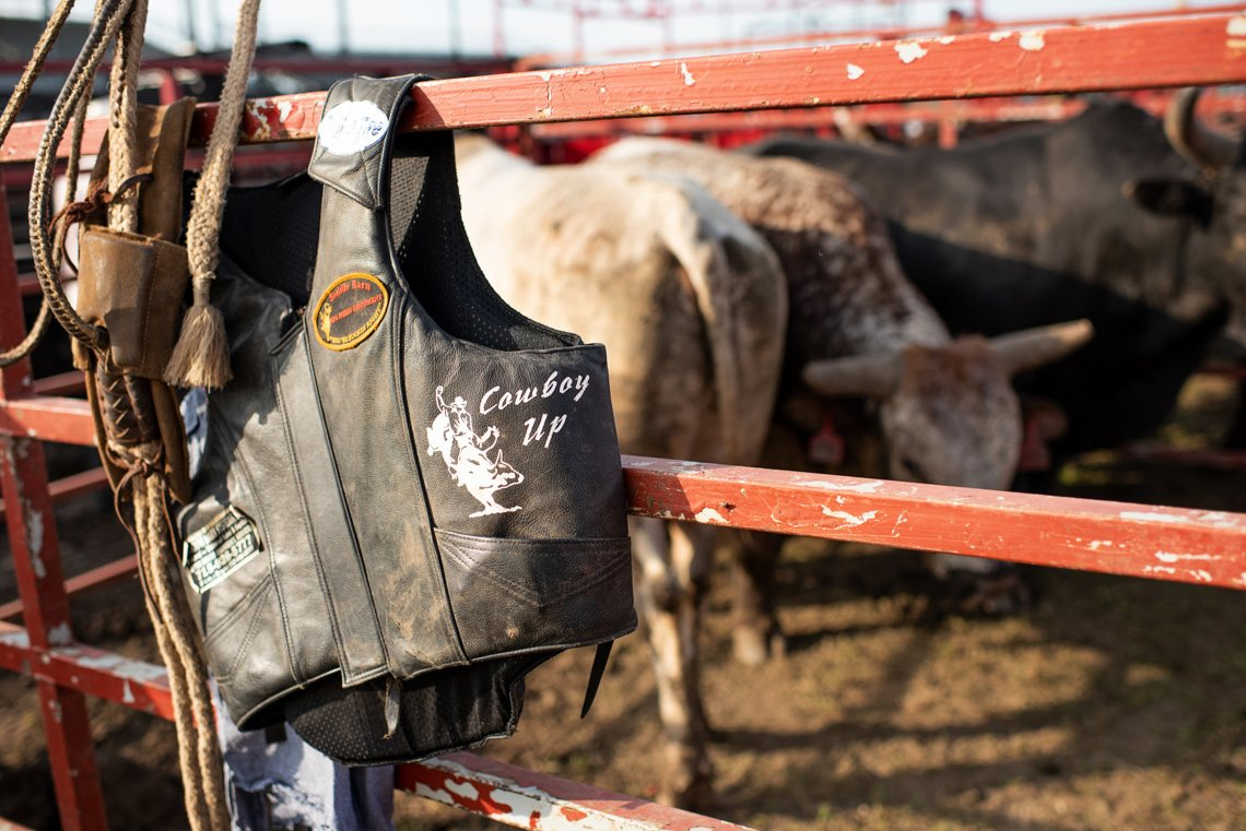 Cowboy vest at rochester mn rodeo - editorial photo