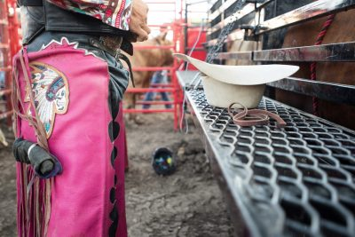 Editorial photo of a cowboy getting ready to ride at the rochester mn rodeo