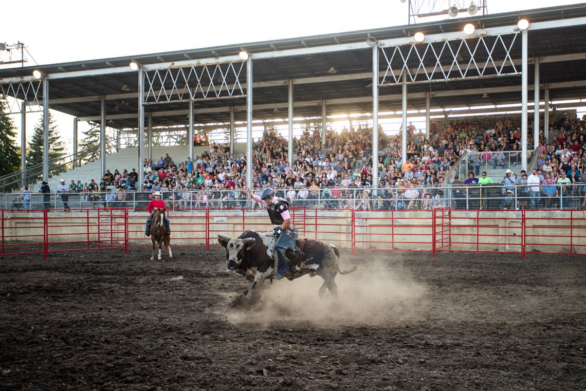 Editorial photography of a cowboy riding a bull at the rochester mn rodeo