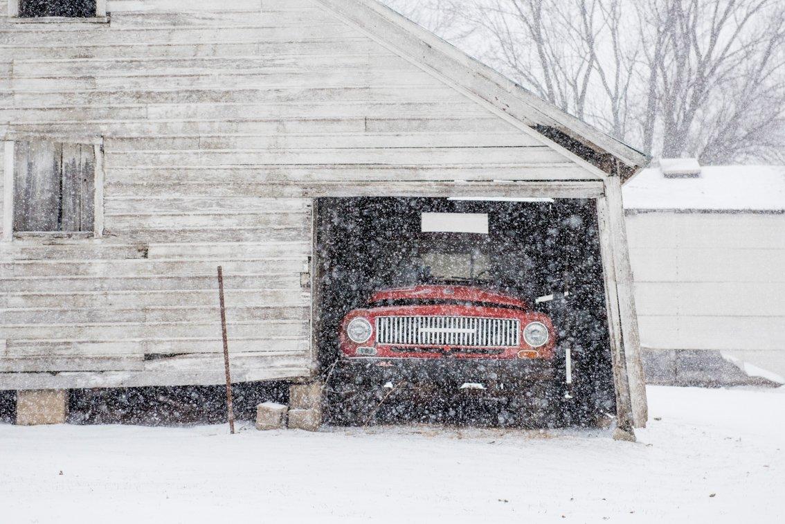 vintage International Truck in snow