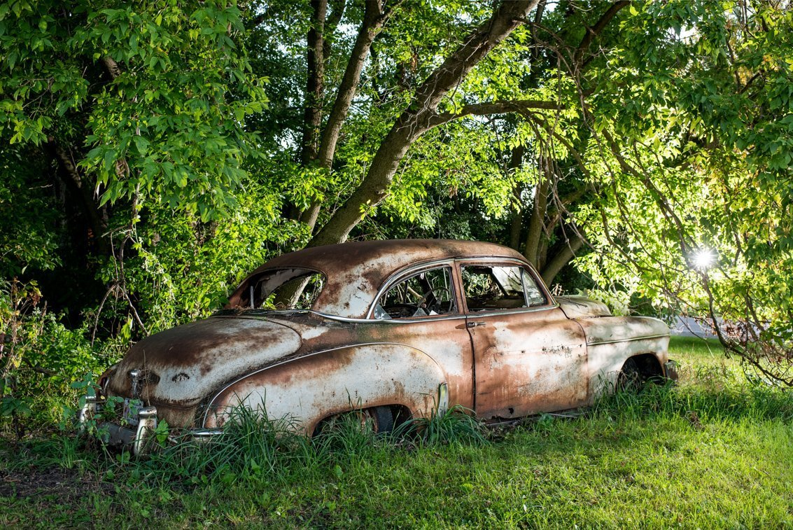 abandoned vintage Chevy Deluxe