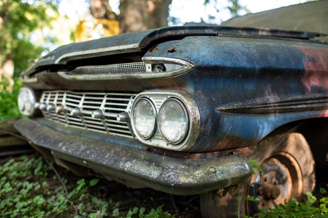 front lights of abandoned Chevrolet Impala