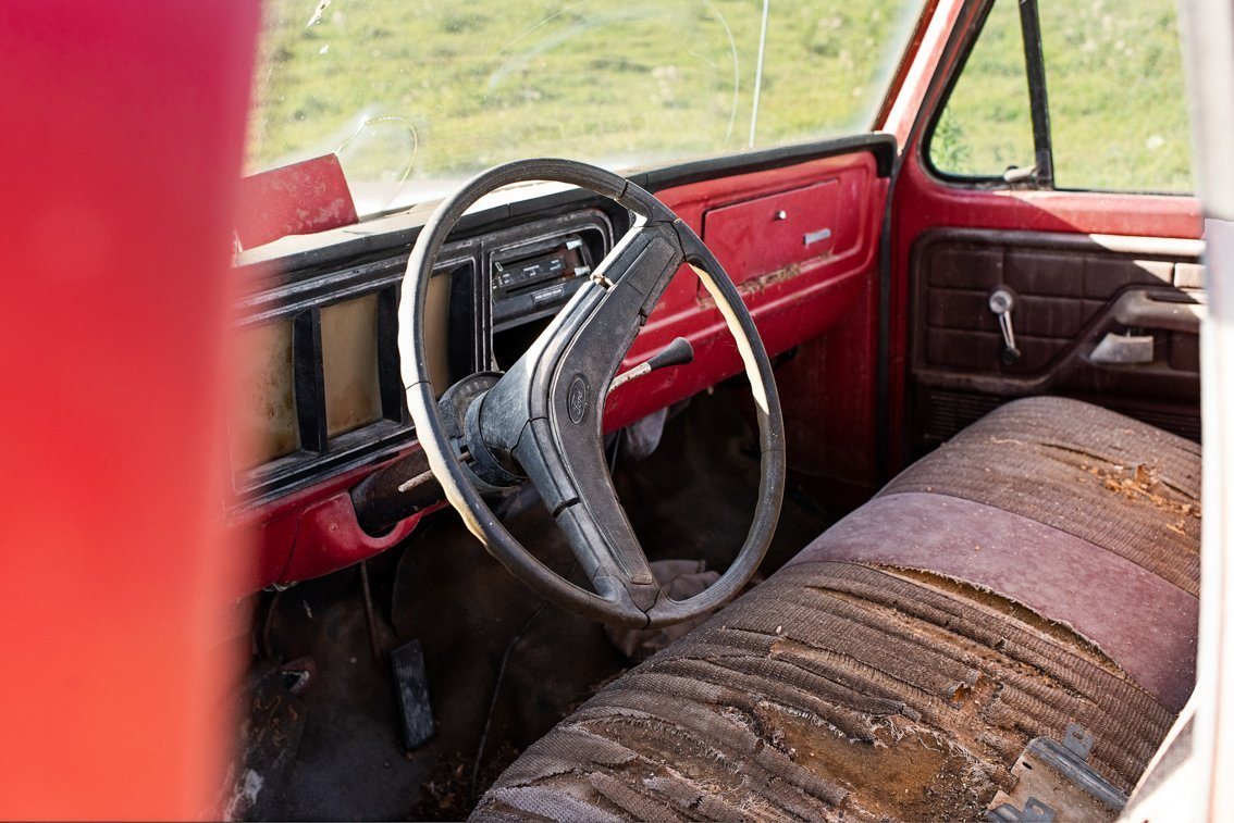 interior front of vintage Ford F100