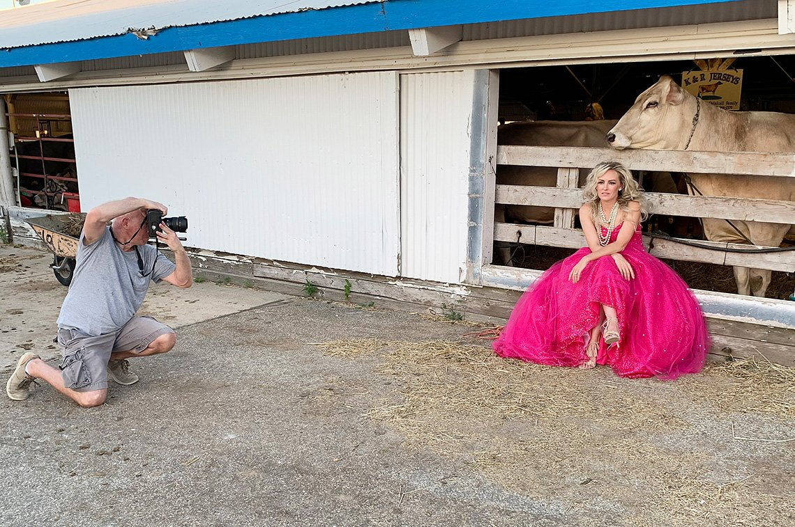 Dean doing editorial fashion photography of woman at the Rochester, Minnesota fair
