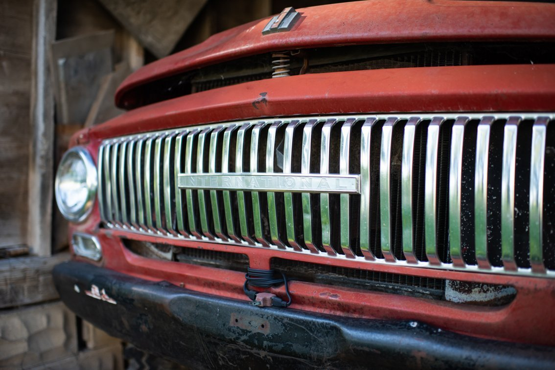 grill of vintage International Truck