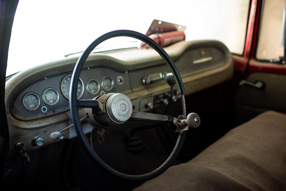 steering wheel of vintage International Truck