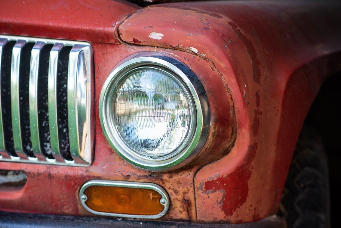 headlight of vintage International Truck