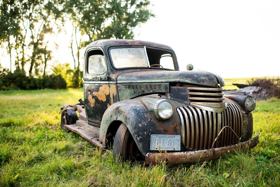 front angle of abandoned Chevy Pickup truck