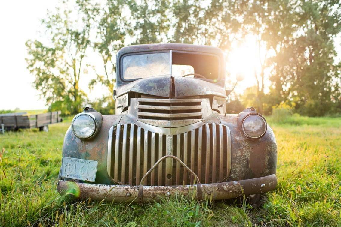 front view of abandoned Chevy Pickup truck