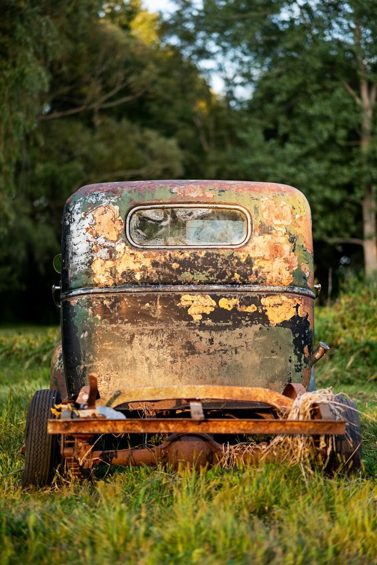 back view of abandoned Chevy Pickup truck