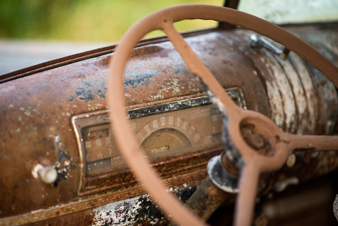 steering wheel of abandoned Chevy Pickup