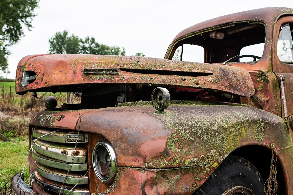 side hood view of rusted Ford F1