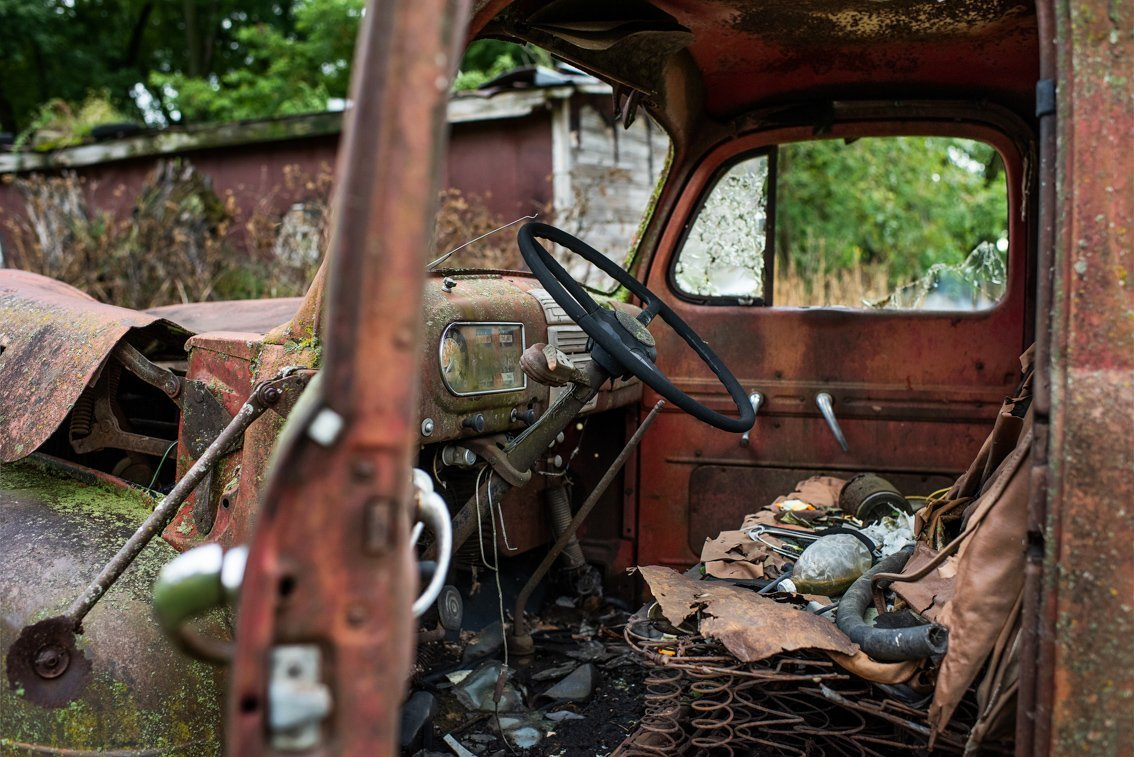 side interior of rusted Ford F1