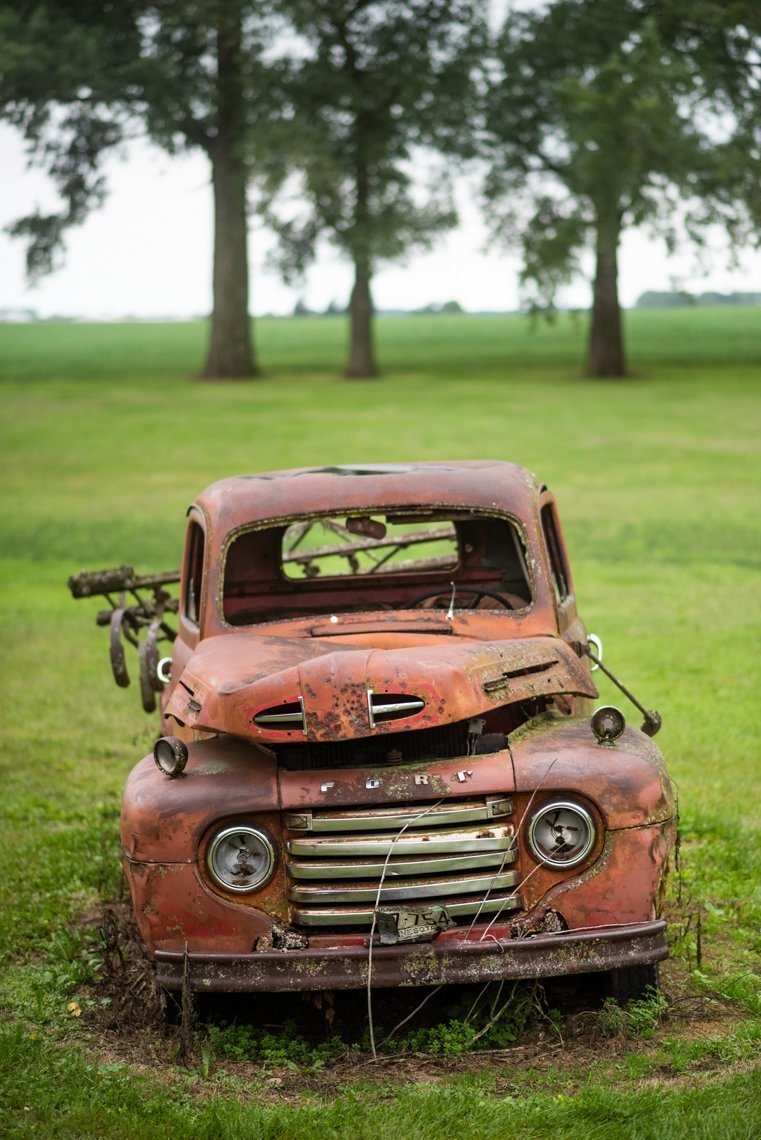 front of rusted Ford F1