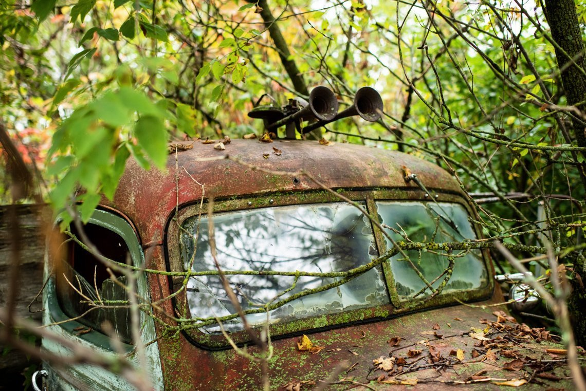 top of abandoned car