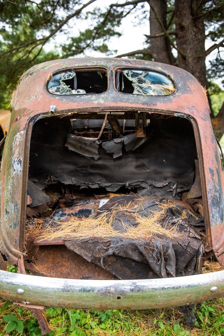 vacant trunk of abandoned Chrysler Royal
