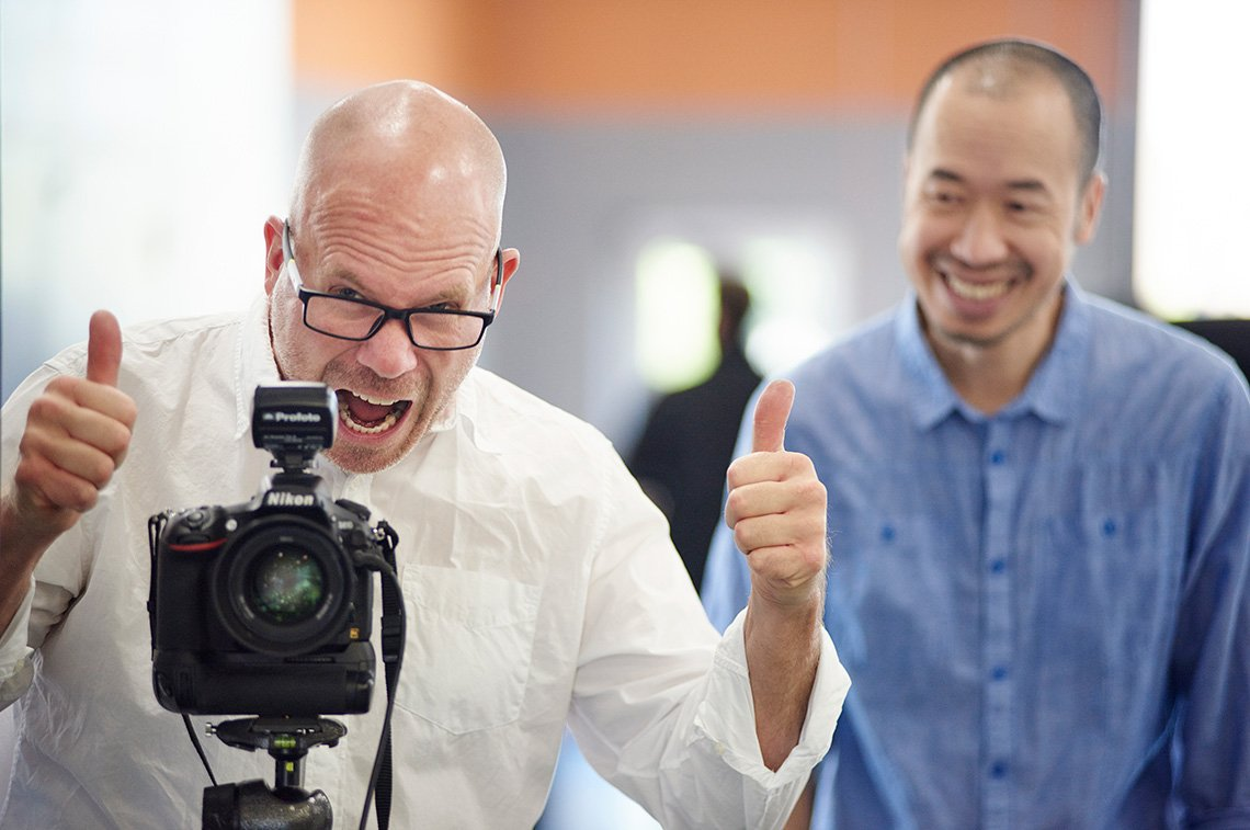 Dean working a corporate photography shoot in Minneapolis, Minnesota.