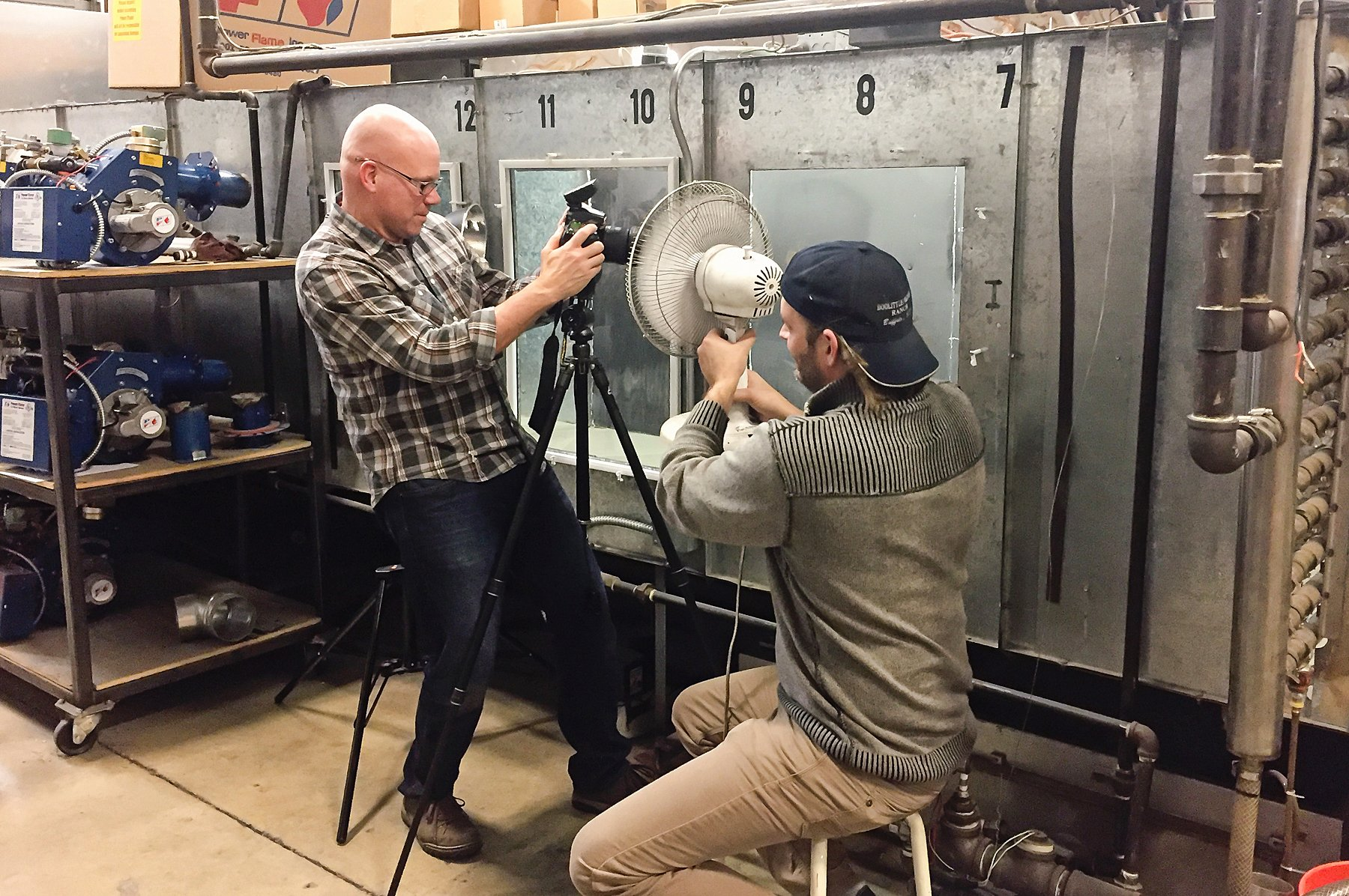 Dean and assistant on industrial photo shoot in St Paul, Minnesota