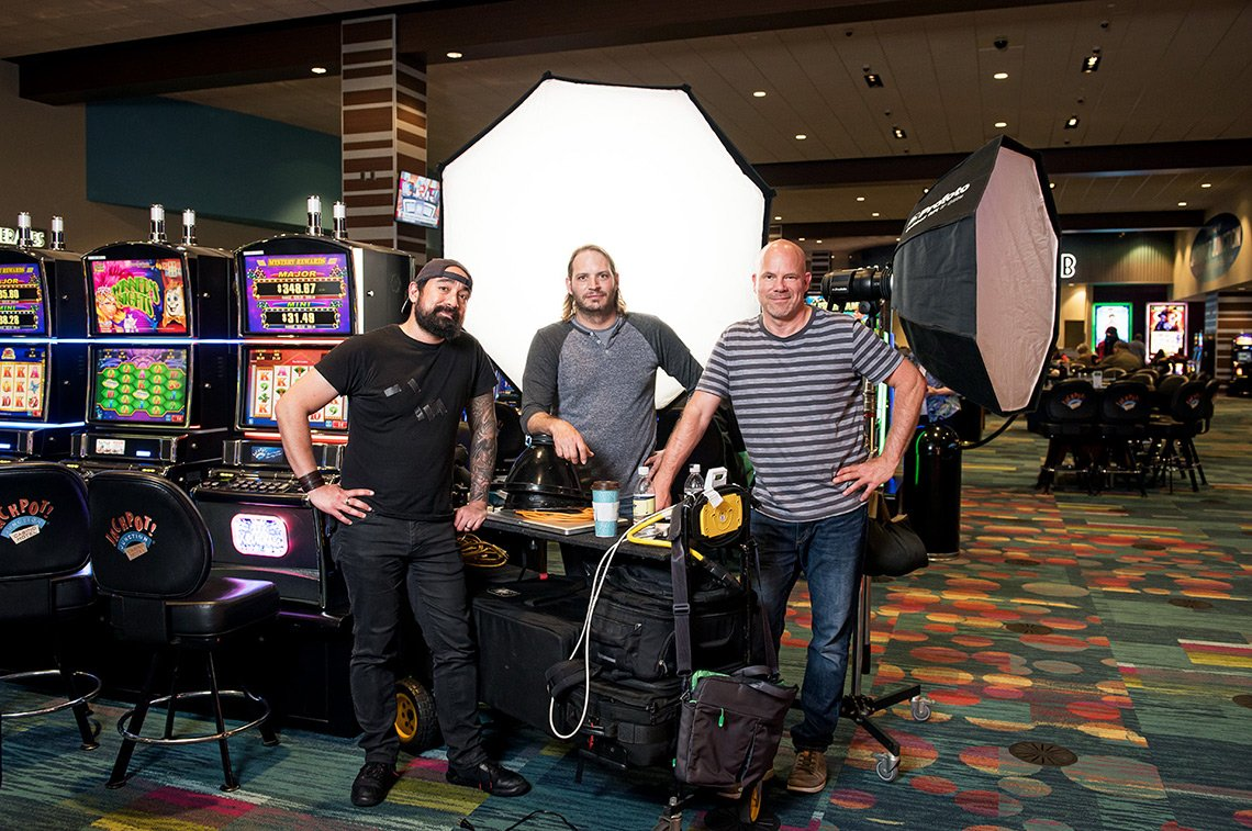 Dean and his assistants on a hospitality photo shoot at a casino in Minnesota.